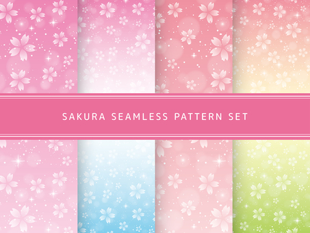 Cherry seamless pattern set