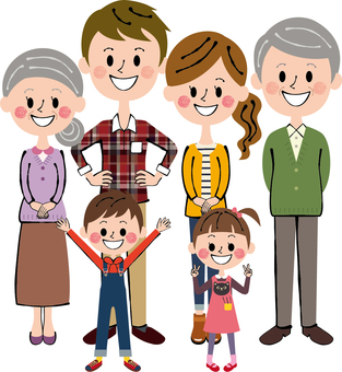 Heartwarming six people ideal family family three long-sleeved whole body