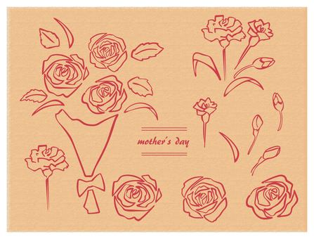 Hand drawn mother's day 2 set red line bouquet