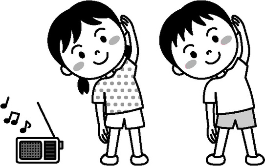 Summer child (radio gymnastics monochrome)