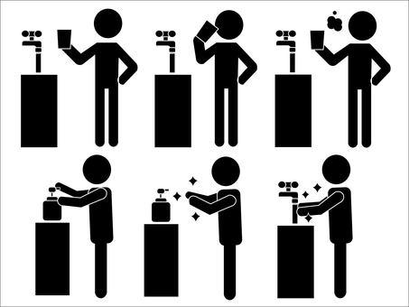 漱口和洗手象形圖
