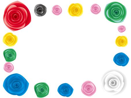 リアルな薔薇の角フレーム素材