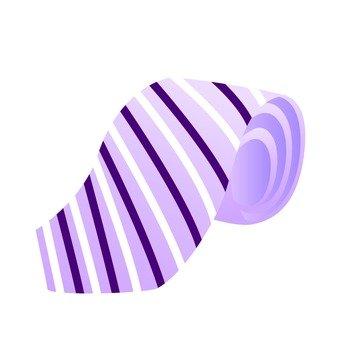 Purple and white striped necktie