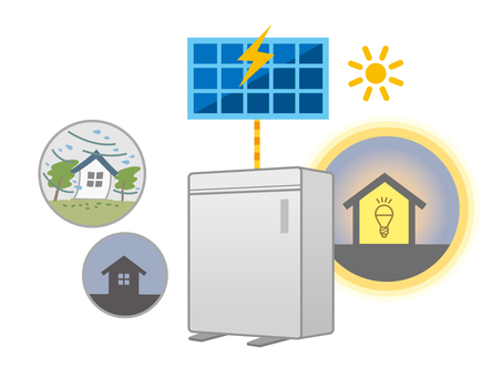 Disaster, storage battery and solar power generation