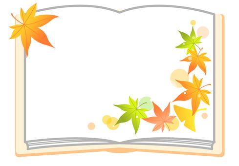 Autumn leaves frame book