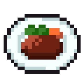 도트 그림의 햄버거