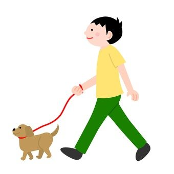 A man walking a dog