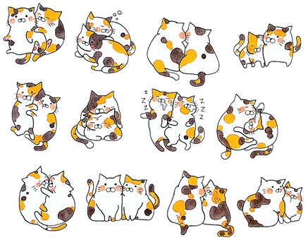 Calico cat pair set