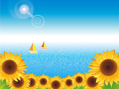Blue sky, sea, sun and sunflower