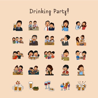 Illustration of drinking party