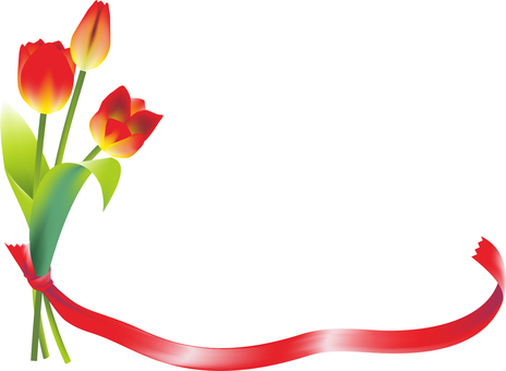 Red tulips and ribbons