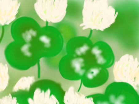 Four-leaf clover and white clover