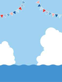 Sea and sky, clouds and flags 4