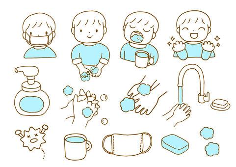 Hand washing gargle illustration set