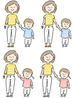 Parent and child illustration set