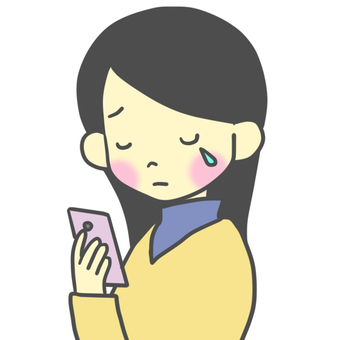 A woman who cries looking at a smartphone