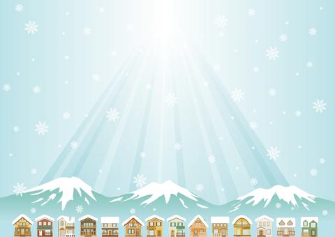 Winter scenery blue