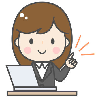 Pointing / cute female office worker / computer