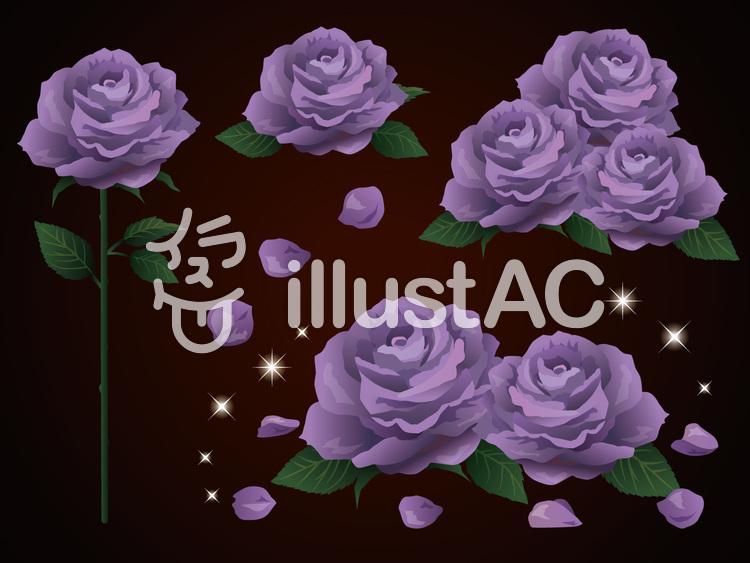 ダーク背景のバラとキラキラ素材 紫イラスト No 無料イラストなら イラストac