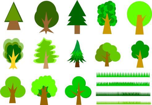 나무와 잔디 세트