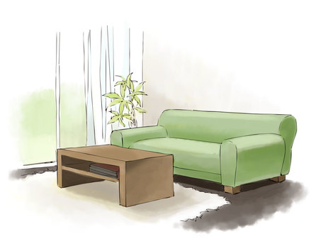 Sketch-like sofa and low table