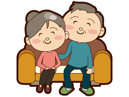 An old couple who sat on the sofa