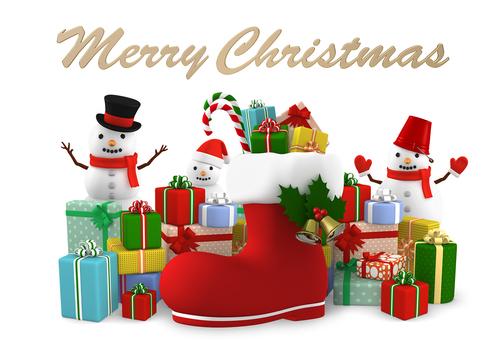 聖誕快樂雪人和禮物