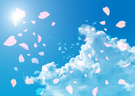 Cherry blossoms and blue sky 2 illustrator 10
