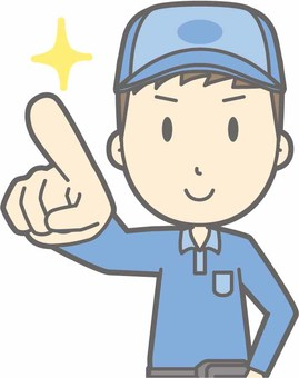Delivery man male a - finger pointing confirmation - bust