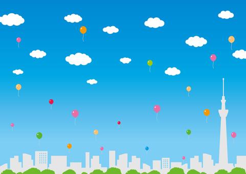 City skyline (blue sky & balloons)
