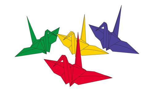 Japanese play folding cranes