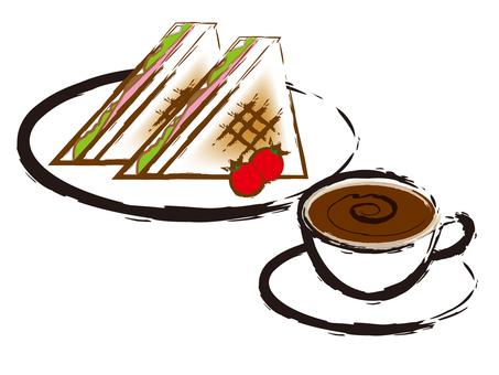コーヒーとサンドウィッチ