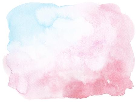水彩画の背景-青ピンク