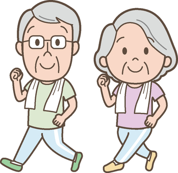 An old couple walking