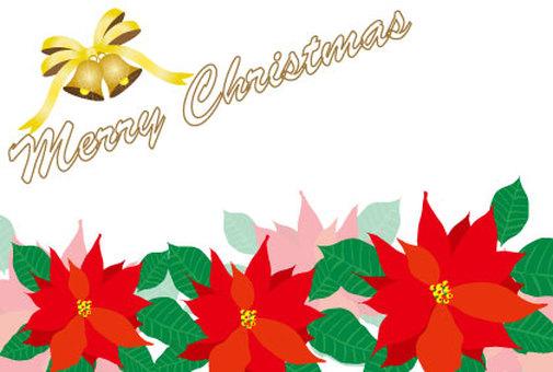 크리스마스 POP 광고의 포인세티아와 벨