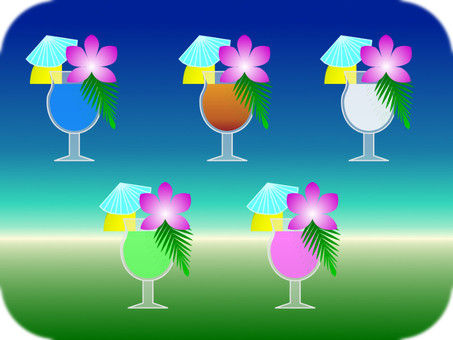 Various tropical cocktails