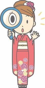 Kimono female a - magnifying glass - whole body