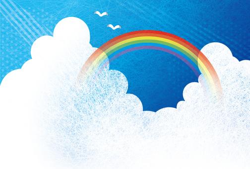 藍藍的天空和彩虹背景圖04