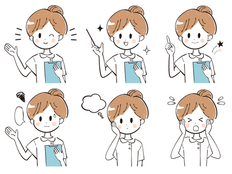 Rough nurse style female facial expression illustration set