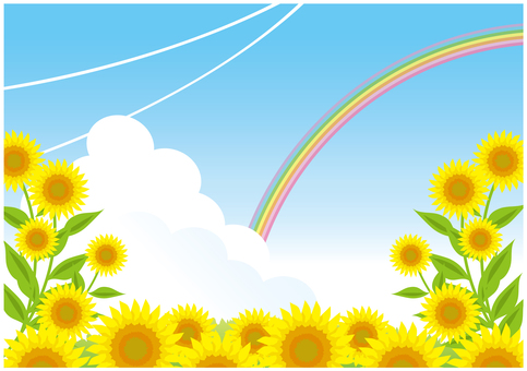 Scenery of sunflowers and rainbows