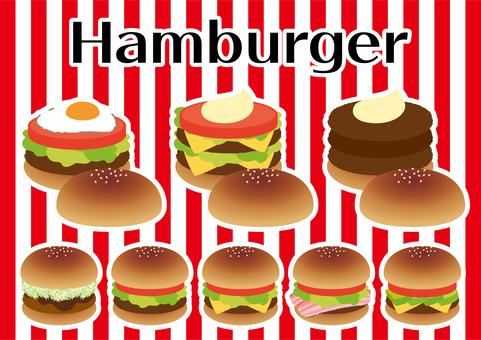 Various sets of hamburgers