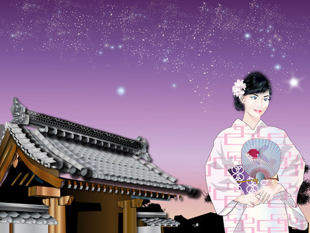 A woman in a yukata with a starry sky mountain gate