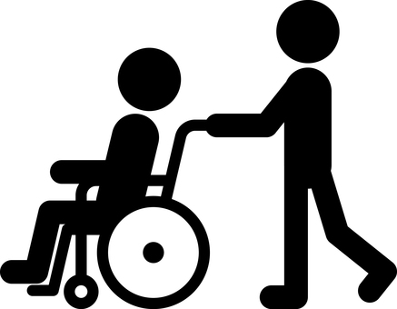 Person pushing a wheelchair Care welfare pictogram