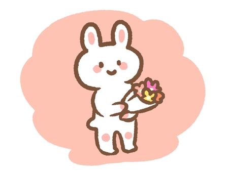 Rabbit with a bouquet