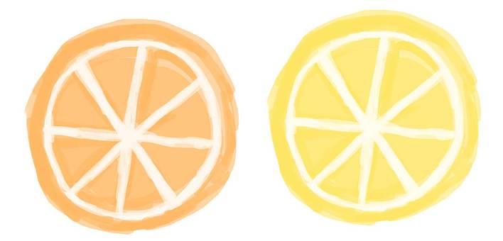輪切りのオレンジとレモン