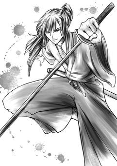 Samurai ink painting illustration