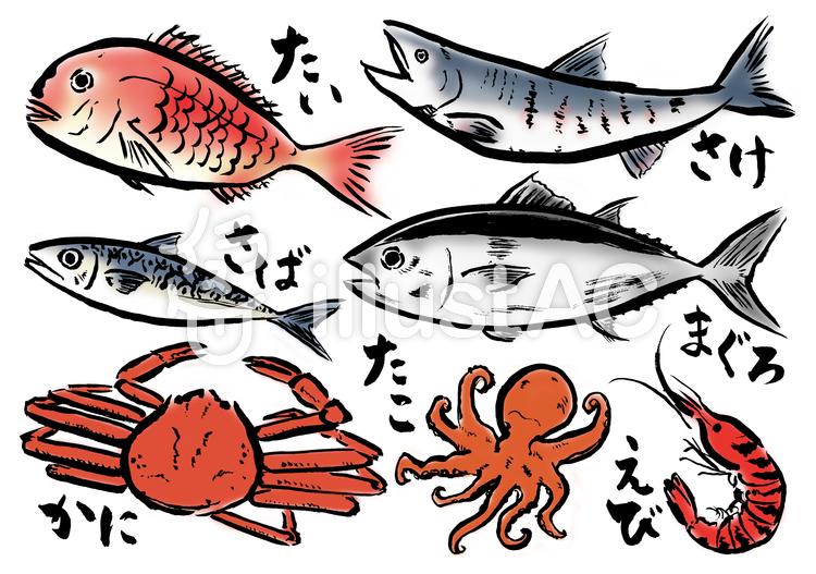 筆書き魚色々カラーイラスト No 606507無料イラストならイラストac