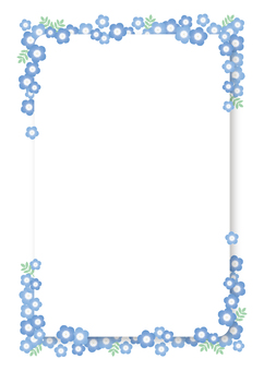 Nemophila frame, background, A4 vertical, with paint