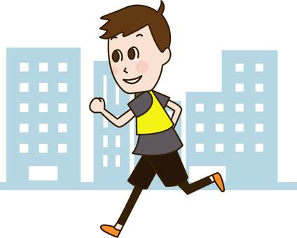 Men running through the city