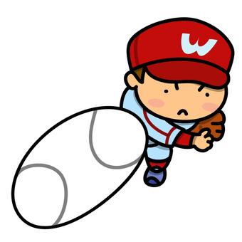 一個男孩打棒球